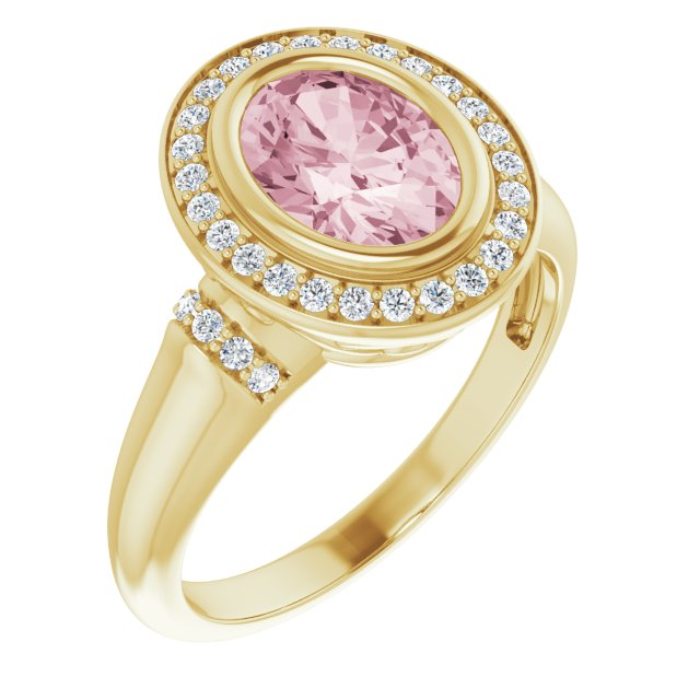 Pink Morganite Ring in 14 Karat Yellow Gold Morganite & 1/5 Carat Diamond Ring