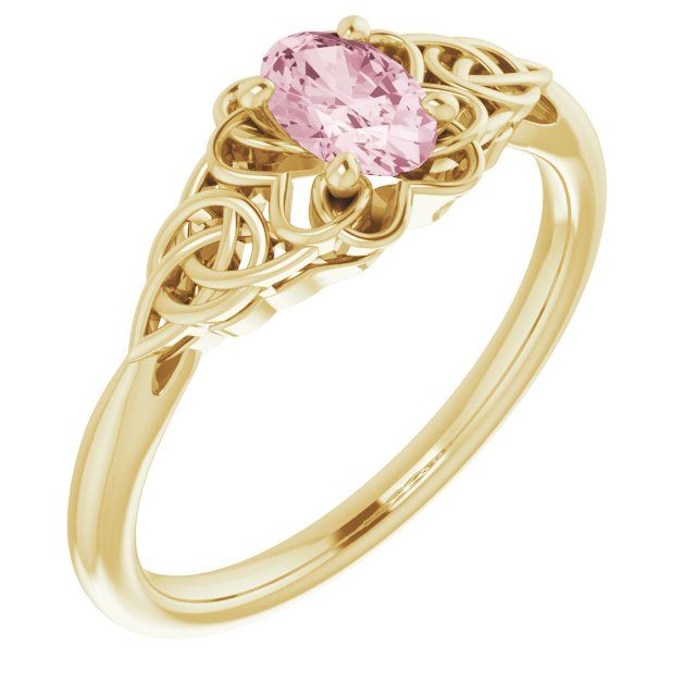 Pink Morganite Ring in 14 Karat Yellow Gold Morganite Celtic-Inspired Ring
