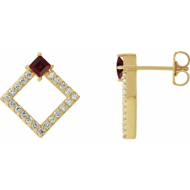 Red Garnet Earrings in 14 Karat Yellow Gold Mozambique Garnet & 1/3 Carat Diamond Earrings