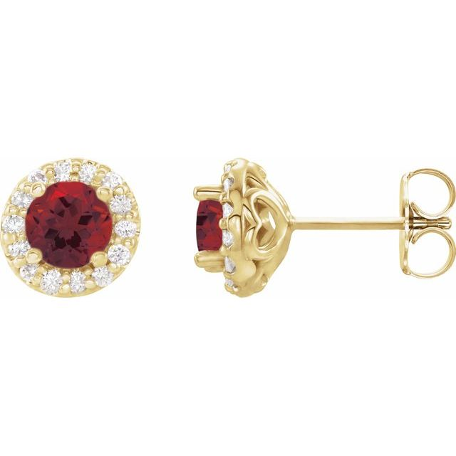 Red Garnet Earrings in 14 Karat Yellow Gold Mozambique Garnet & 1/4 Carat Diamond Earrings