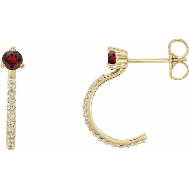 Red Garnet Earrings in 14 Karat Yellow Gold Mozambique Garnet & 1/6 Carat Diamond Hoop Earrings
