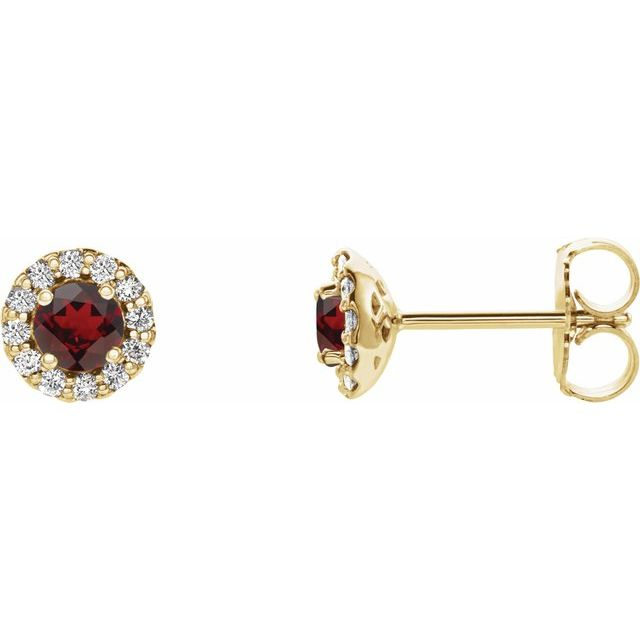 Red Garnet Earrings in 14 Karat Yellow Gold Mozambique Garnet & 1/8 Carat Diamond Earrings