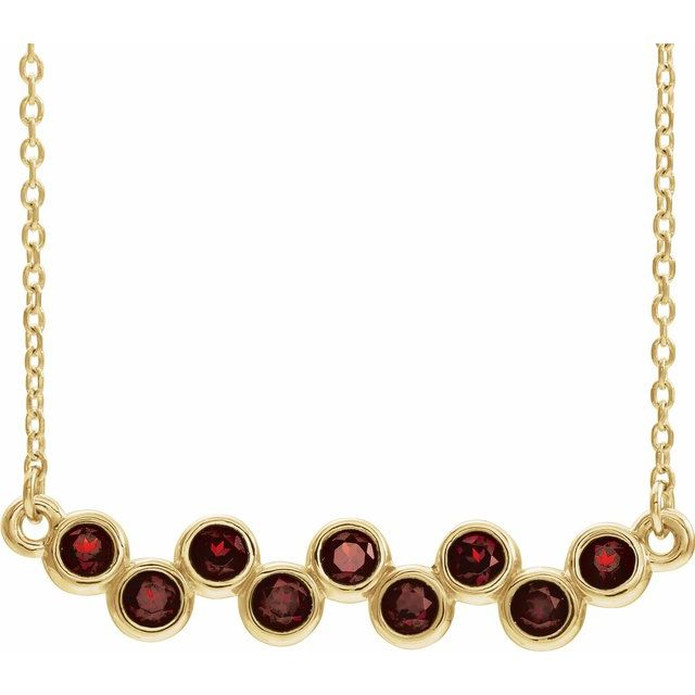 Red Garnet Necklace in 14 Karat Yellow Gold Mozambique Garnet Bezel-Set Bar 16-18