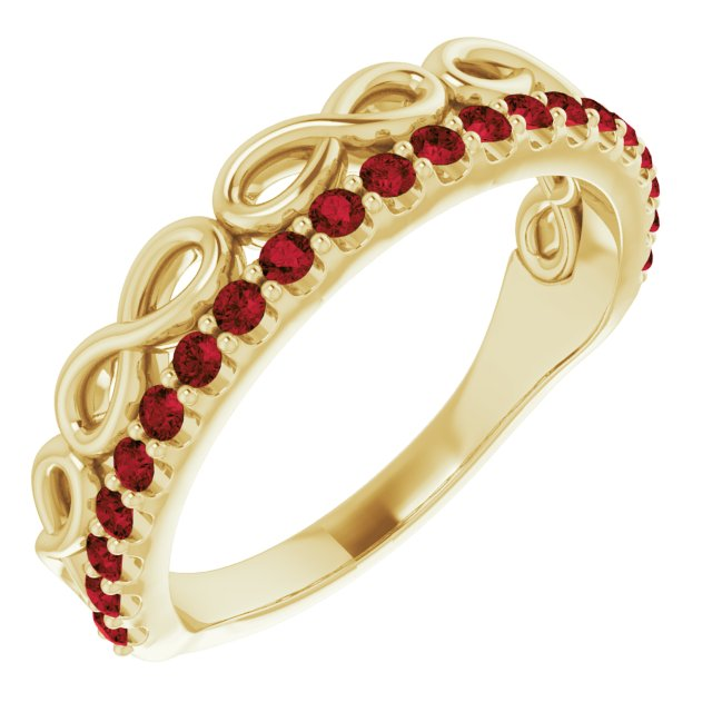 Red Garnet Ring in 14 Karat Yellow Gold Mozambique Garnet Infinity-Inspired Stackable Ring