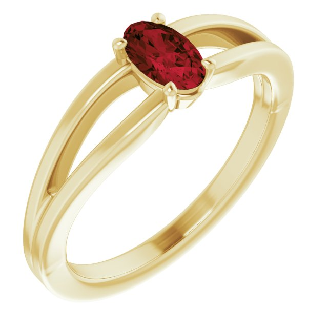Red Garnet Ring in 14 Karat Yellow Gold Mozambique Garnet Solitaire Youth Ring