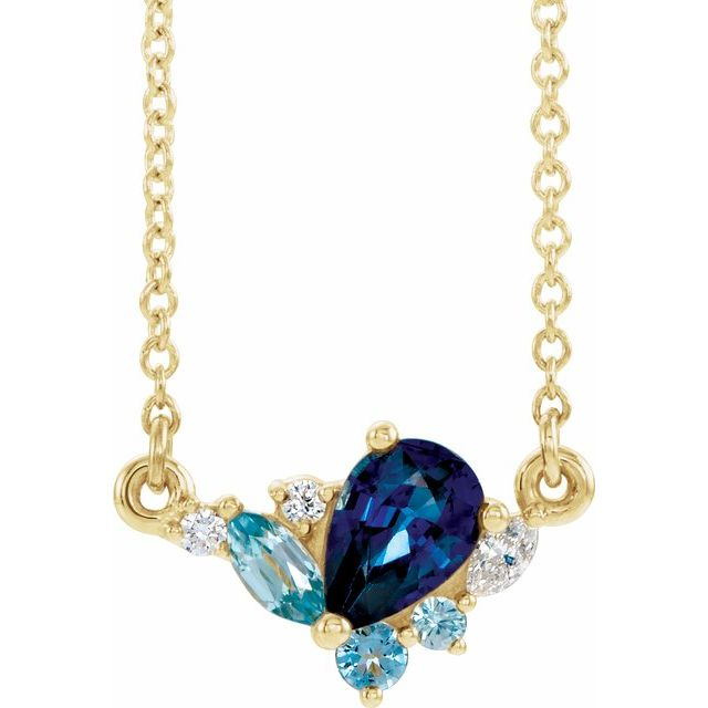 Genuine Sapphire Necklace in 14 Karat Yellow Gold Multi-Gemstone & .06 Carat Diamond 16