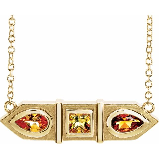 Multi-Gemstone Necklace in 14 Karat Yellow Gold Multi-Gemstone Geometric Bar 16