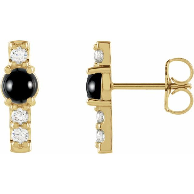 Black Black Onyx Earrings in 14 Karat Yellow Gold Onyx & 1/5 Carat Diamond Bar Earrings