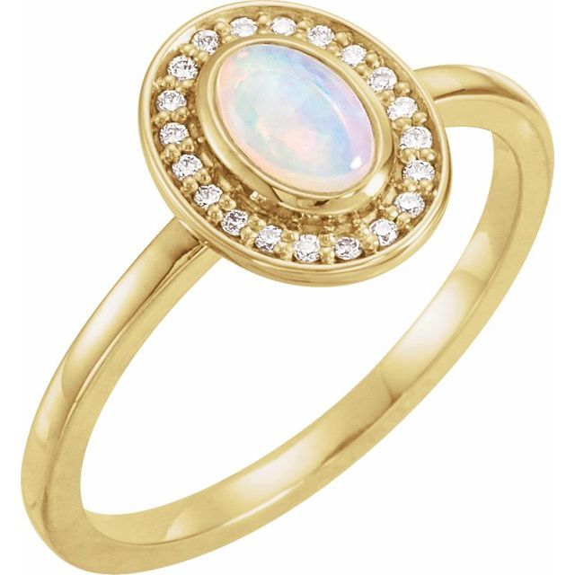 Natural Opal Ring in 14 Karat Yellow Gold Opal & .08 Carat Diamond Halo-Style Ring