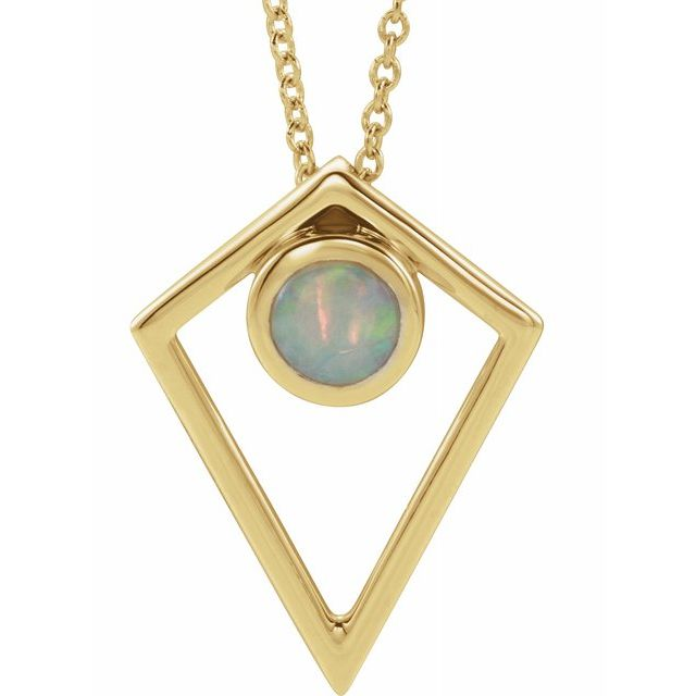 White Opal Necklace in 14 Karat Yellow Gold Opal Cabochon Pyramid 16-18