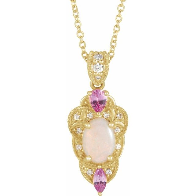 Ethiopian Opal Necklace in 14 Karat Yellow Gold Opal, Pink Sapphire & 1/10 Carat Diamond Vintage-Inspired 16-18