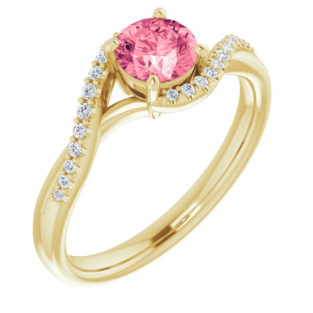 Genuine Topaz Ring in 14 Karat Yellow Gold Passion Pink Topaz & 1/10 Carat Diamond Ring
