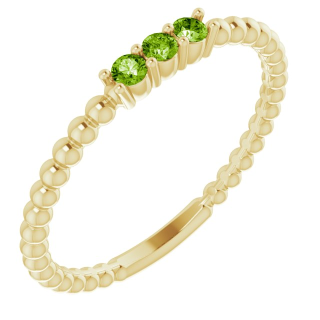 Genuine Peridot Ring in 14 Karat Yellow Gold Peridot Beaded Ring