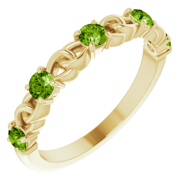 Genuine Peridot Ring in 14 Karat Yellow Gold Peridot Stackable Link Ring