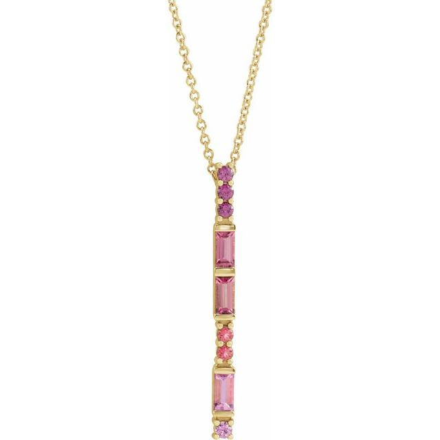 Multi-Gemstone Necklace in 14 Karat Yellow Gold Pink Multi-Gemstone Bar 16-18