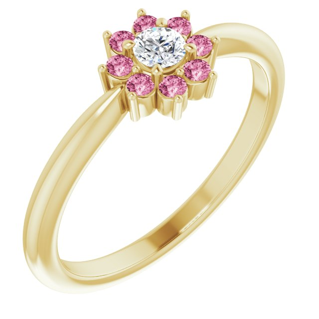 White Diamond Ring in 14 Karat Yellow Gold Pink Tourmaline & .06 Carat Diamond Flower Ring