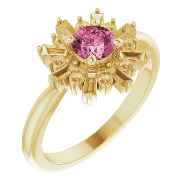 Pink Tourmaline Ring in 14 Karat Yellow Gold Pink Tourmaline & 3/8 Carat Ring