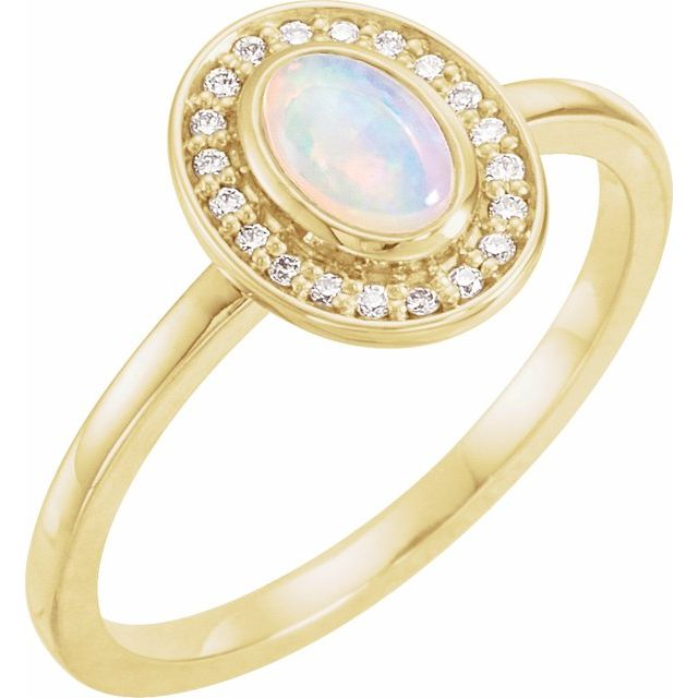 Moonstone Ring in 14 Karat Yellow Gold Rainbow Moonstone & 1/10 Carat Diamond Halo-Style Ring