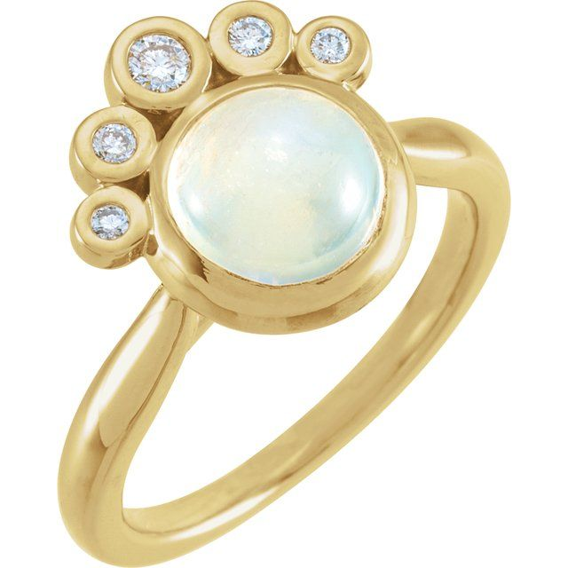 Moonstone Ring in 14 Karat Yellow Gold Rainbow Moonstone & 1/8 Carat Diamond Ring
