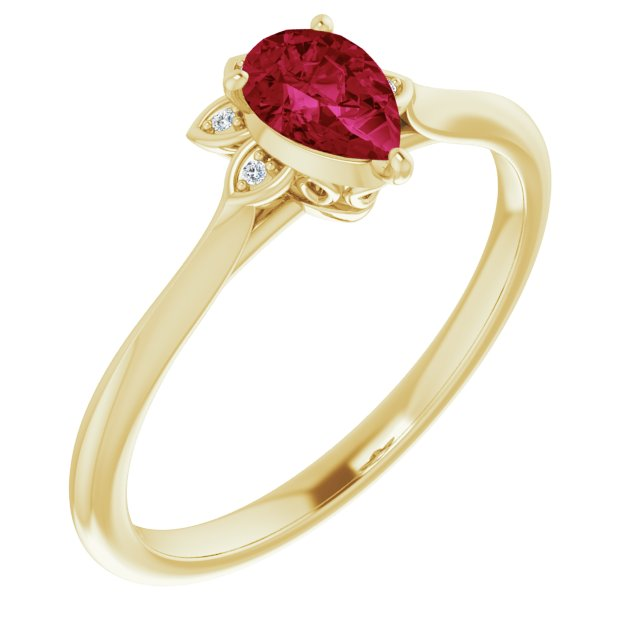 Natural Ruby Ring in 14 Karat Yellow Gold Ruby & .015 Carat Diamond Ring