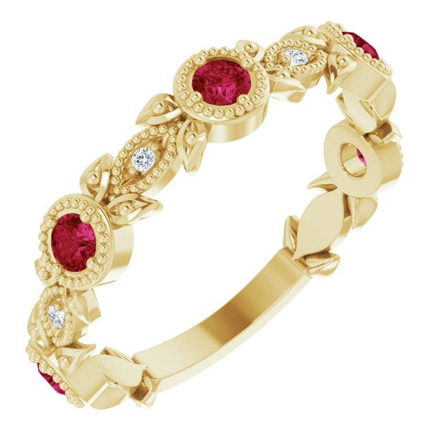 Natural Ruby Ring in 14 Karat Yellow Gold Ruby & .03 Carat Diamond Leaf Ring