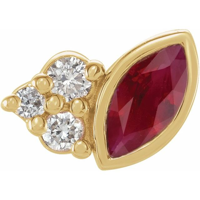 Natural Ruby Earrings in 14 Karat Yellow Gold Ruby & .03 Carat Diamond Right Earring