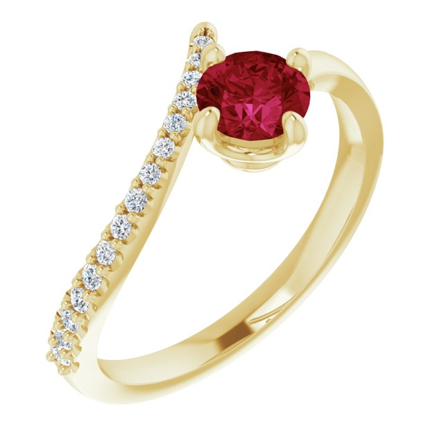 Natural Ruby Ring in 14 Karat Yellow Gold Ruby & 1/10 Carat Diamond Bypass Ring