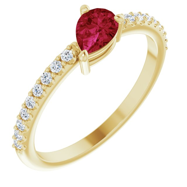 Natural Ruby Ring in 14 Karat Yellow Gold Ruby & 1/6 Carat Diamond Ring