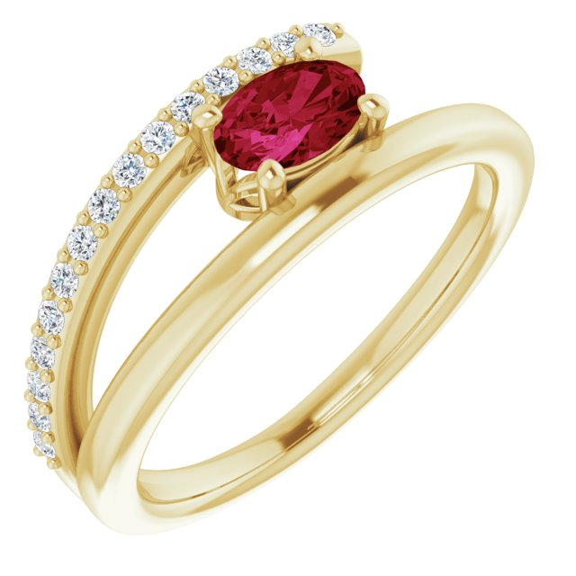 Natural Ruby Ring in 14 Karat Yellow Gold Ruby & 1/8 Carat Diamond Ring