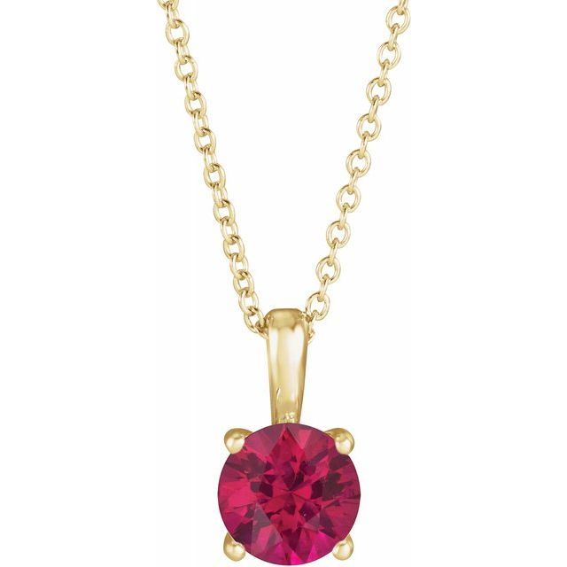 Genuine Ruby Necklace in 14 Karat Yellow Gold Ruby 16-18