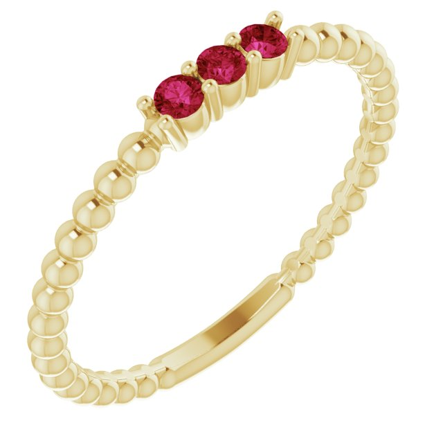 Genuine Ruby Ring in 14 Karat Yellow Gold Ruby Beaded Ring