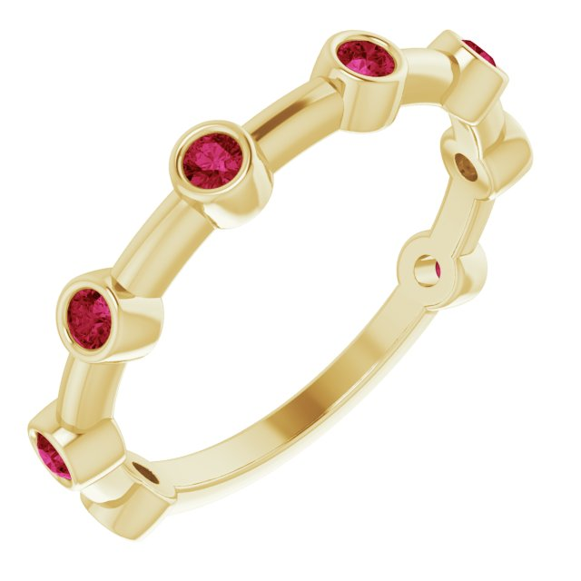 Natural Ruby Ring in 14 Karat Yellow Gold Ruby Bezel-Set Bar Ring