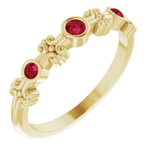 Genuine Ruby Ring in 14 Karat Yellow Gold Ruby Bezel-Set Ring