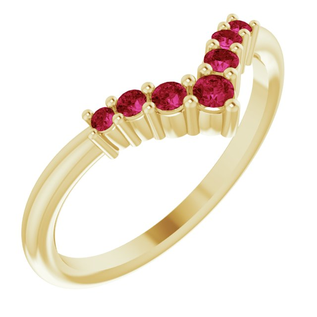 Natural Ruby Ring in 14 Karat Yellow Gold Ruby Graduated