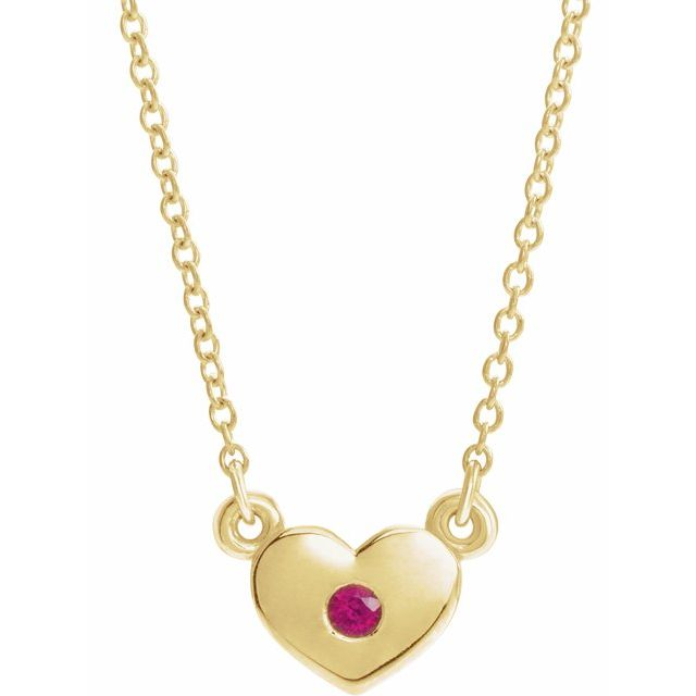 Genuine Ruby Necklace in 14 Karat Yellow Gold Ruby Heart 16