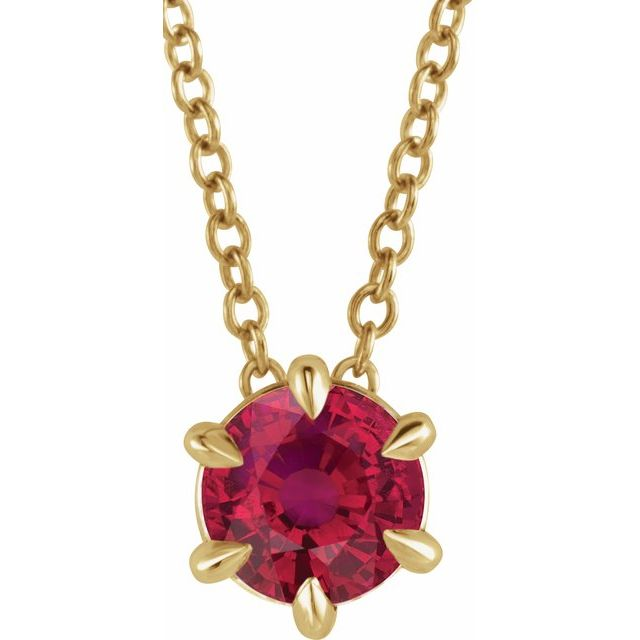 Genuine Ruby Necklace in 14 Karat Yellow Gold Ruby Solitaire 16-18
