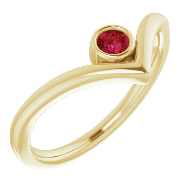 Genuine Ruby Ring in 14 Karat Yellow Gold Ruby Solitaire Bezel-Set