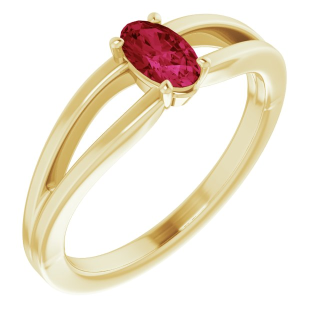 Natural Ruby Ring in 14 Karat Yellow Gold Ruby Solitaire Youth Ring