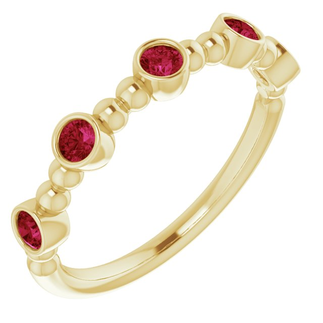 Natural Ruby Ring in 14 Karat Yellow Gold Ruby Stackable Beaded Ring