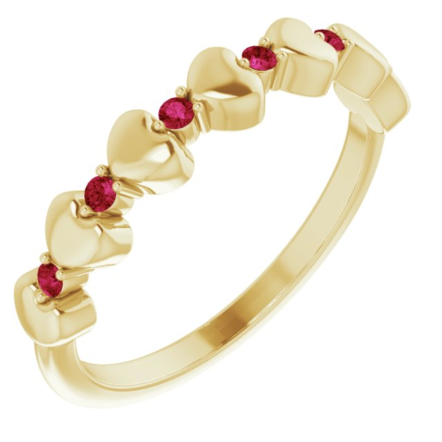 Natural Ruby Ring in 14 Karat Yellow Gold Ruby Stackable Heart Ring
