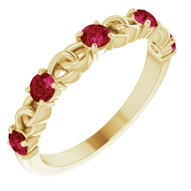 Natural Ruby Ring in 14 Karat Yellow Gold Ruby Stackable Link Ring