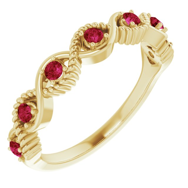 Natural Ruby Ring in 14 Karat Yellow Gold Ruby Stackable Ring