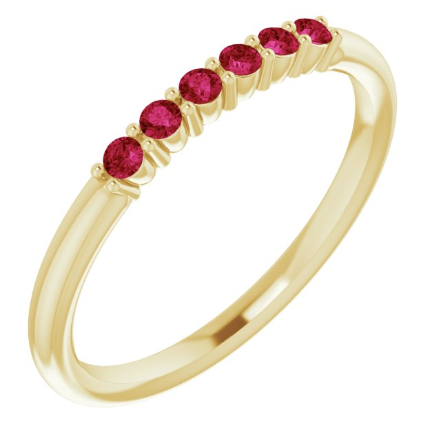 Genuine Ruby Ring in 14 Karat Yellow Gold Ruby Stackable Ring