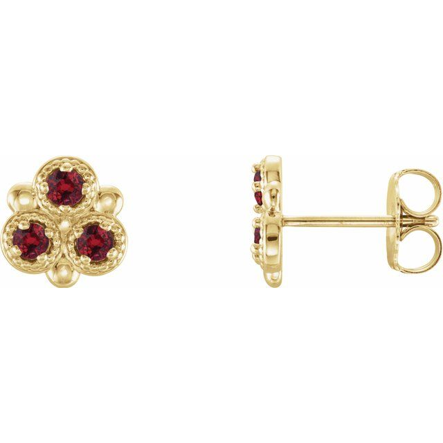 Natural Ruby Earrings in 14 Karat Yellow Gold Ruby Three-Stone Earrings