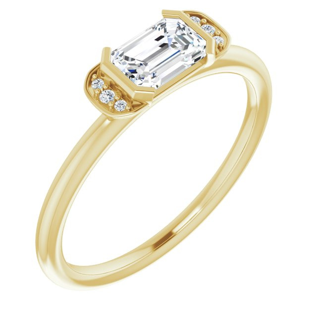 Genuine Sapphire Ring in 14 Karat Yellow Gold Sapphire & .02 Carat Diamond Stackable Ring