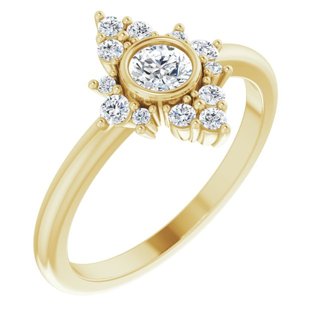 Genuine Sapphire Ring in 14 Karat Yellow Gold Sapphire & 1/5 Carat Diamond Ring