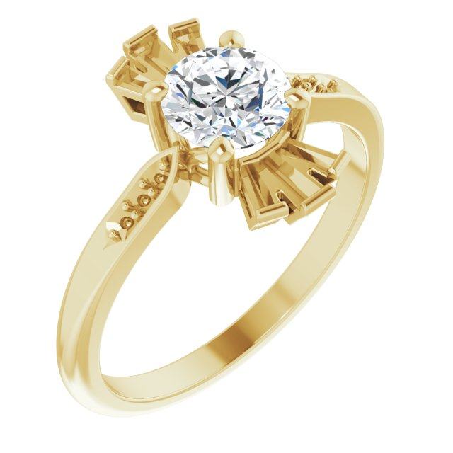 Genuine Sapphire Ring in 14 Karat Yellow Gold Sapphire & 1/6 Carat Diamond Ring
