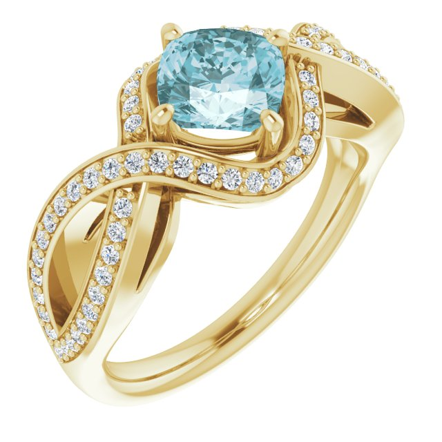 Genuine Topaz Ring in 14 Karat Yellow Gold Sky Genuine Topaz & 1/3 Carat Diamond Ring