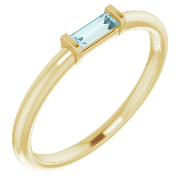 Genuine Topaz Ring in 14 Karat Yellow Gold Sky Genuine Topaz Stackable Ring