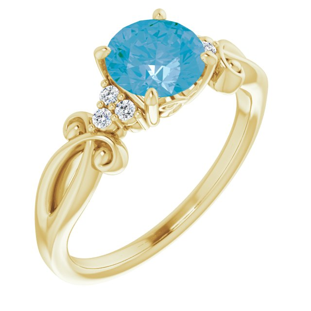 Genuine Topaz Ring in 14 Karat Yellow Gold Swiss Genuine Topaz & .06 Carat Diamond Ring